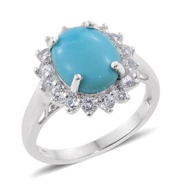 Arizona Sleeping Beauty Turquoise (Ovl 3.95 Ct), White Topaz Ring in Platinum Overlay Sterling Silve