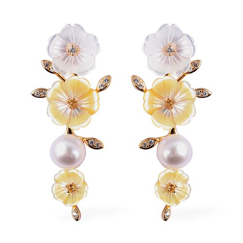Jardin Collection - Yellow and White Mother of Pearl, Freshwater Pearl, Citrine and Natural White Ca