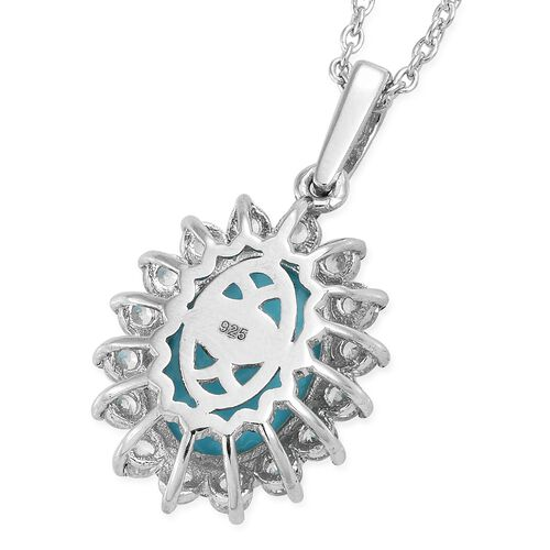 Arizona Sleeping Beauty Turquoise (Ovl 4.30 Ct), Natural Cambodian Zircon Pendant with Chain in Platinum Overlay Sterling Silver 5.750 Ct.