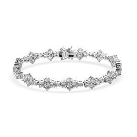 J Francis Platinum Overlay Sterling Silver Bracelet (Size 7.5) Made with SWAROVSKI ZIRCONIA 11.96 Ct