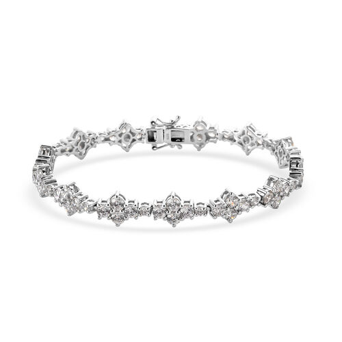 J Francis Platinum Overlay Sterling Silver Bracelet (Size 7.5) Made with SWAROVSKI ZIRCONIA 11.96 Ct