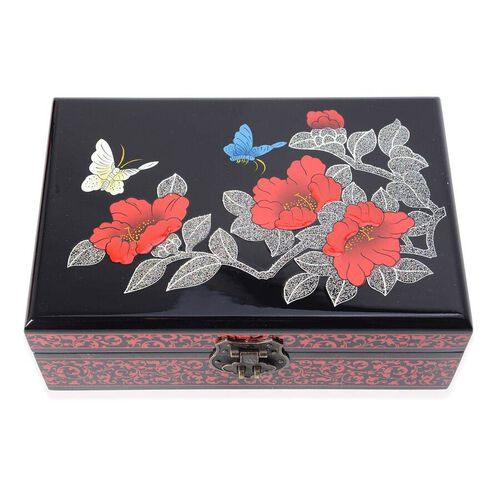 2 - Layer  Chinese Lacquer  Camellia Pattern Jewellery Box with Inside Mirror and Removable Tray (Size 21x14x7.5 Cm) - Black