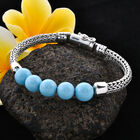 Royal Bali Collection - Arizona Sleeping Beauty Turquoise Tulang Naga Bracelet (Size 6.75) in Sterling Silver 15.00 Ct, Silver wt 23.00 Gms