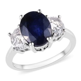 4.75 Ct Masoala Sapphire and Golconda Diamond Topaz Trilogy Design Ring in Platinum Plated Silver
