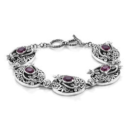 Royal Bali 9 Ct African Ruby Floral Dragonfly Toggle Bar Bracelet in Silver 7.5 with Extender