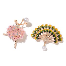 Set of 2 - Multi Colour Austrian Crystal, Simulated Pearl Ballerina and Peacock Brooch