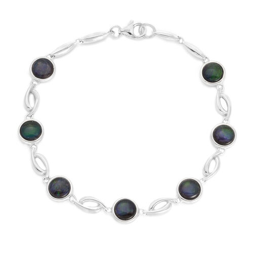 Canadian Ammolite (Rnd) Bracelet in Rhodium Plated Sterling Silver (Size 7) 6.000 Ct.
