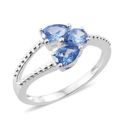 J Francis - Sterling Silver (Pear) Trilogy Ring Made with Blue SWAROVSKI ZIRCONIA