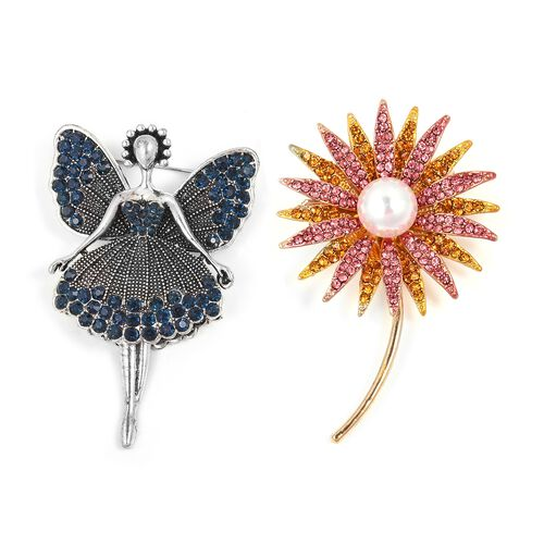 Set of 2 - Simulated Pearl (Rnd), Multi Colour Austrian Crystal Fairy and Sunflower Brooch in Silver and Gold Tone