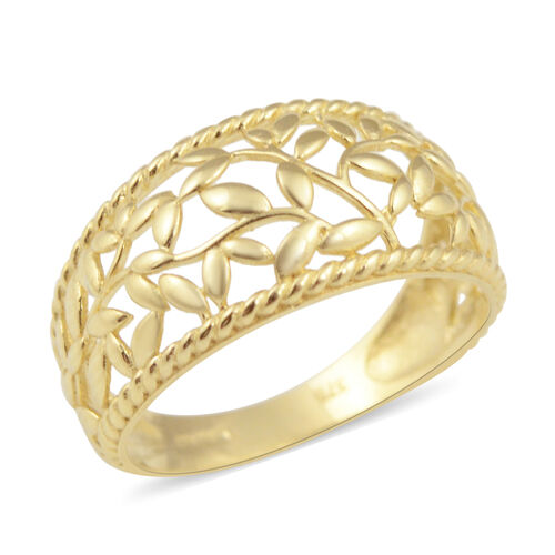 Vicenza Collection Leaf Design Ring in 9K Yellow Gold