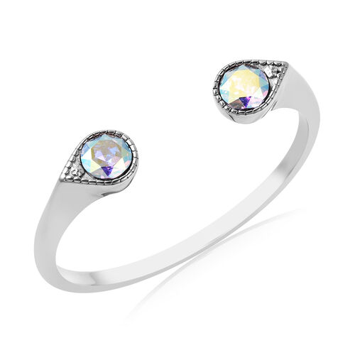 J Francis Crystal from Swarovski AB Crystal Cuff Bangle (Size 7.5) in Stainless Steel