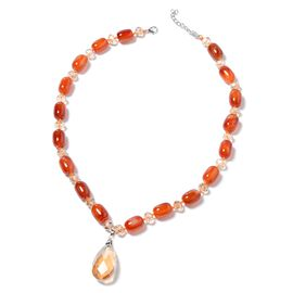 Bank Holiday Deal - Red Agate Beads and Simulated Champagne Diamond (Pear) Necklace (Size 25 and 2 inch Extender) in Silver Tone