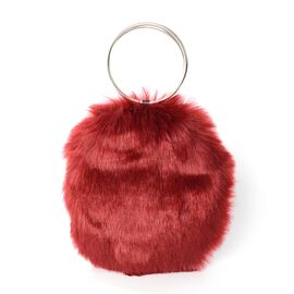 Red Colour Faux Fur Bag (Size 20x19 Cm)