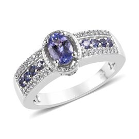 1.10 Ct Tanzanite and Zircon Solitaire Design Ring in Platinum Plated Sterling Silver