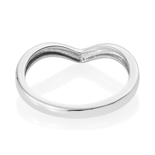 Platinum Overlay Sterling Silver Wishbone V Shape Stacker Silver Ring