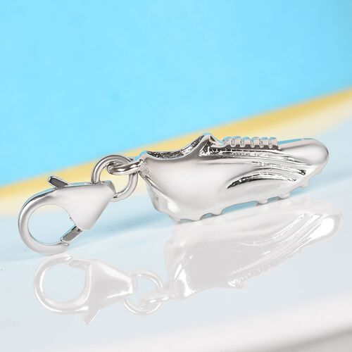 Platinum Overlay Sterling Silver Football Boot Charm