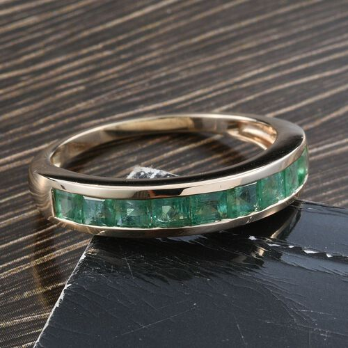 9K Y Gold AA Kagem Zambian Emerald (Sqr Princess) Half Eternity Band Ring 1.250 Ct.