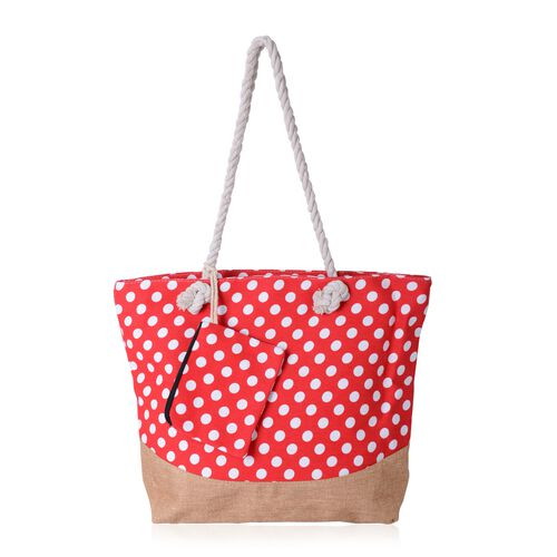 Red and White Colour Dots Pattern Large Handbag (Size 49x39x38x14 Cm) and Small Handbag (Size 17x13