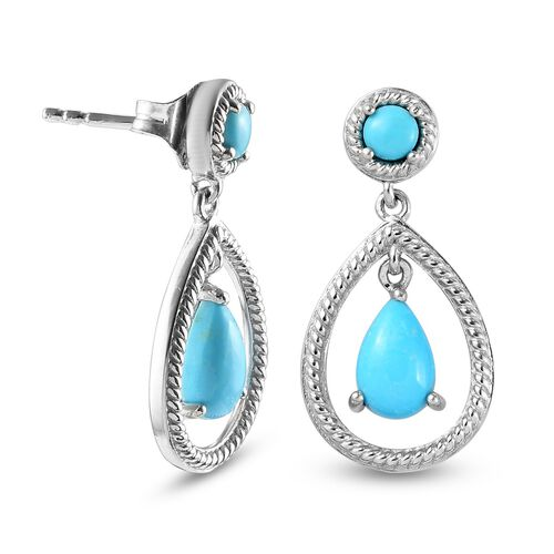 Arizona Sleeping Beauty Turquoise Dangling Earrings (with Push Back) in Platinum Overlay Sterling Silver 3.000  Ct.