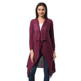 Marigold Lotus: 100% Cotton Knit Long Sleeve Waterfall Cardigan in Purple