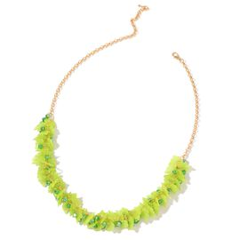 Simulated Emerald and Green Colour Leaves Necklace (Size 25 with Extender) in Yellow Gold Tone