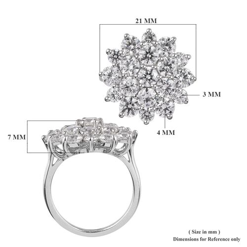 J Francis - Platinum Overlay Sterling Silver Floral Cluster Ring Made with SWAROVSKI ZIRCONIA