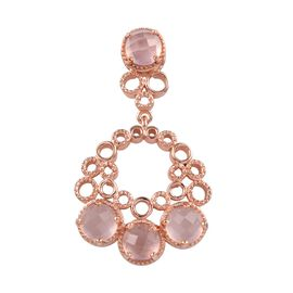 GP Rose Quartz (Rnd), Blue Sapphire Pendant in Rose Gold Overlay Sterling Silver 3.50 Ct.
