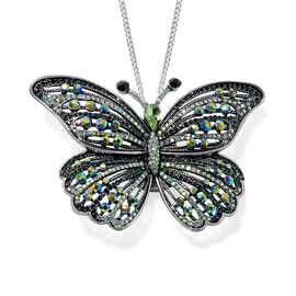 Safari Collection - Multi Colour Austrian Crystal Butterfly Brooch or Pendant With Chain (Size 24) i