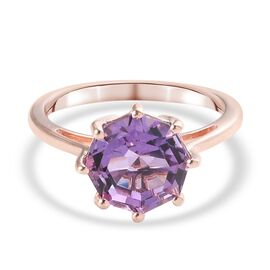 Pink Amethyst Solitaire Ring in Rose Gold Sterling Silver 3.16 Ct.
