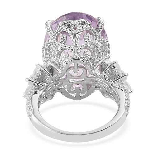 Rose De France Amethyst (Ovl 15.00 Ct), Natural Cambodian Zircon Ring in Platinum Overlay Sterling Silver 17.000 Ct. Silver wt 6.17 Gms.