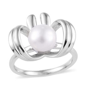 Freshwater Pearl Bow Ring (Size P) in Platinum Overlay Sterling Silver, Silver wt 3.87 Gms.