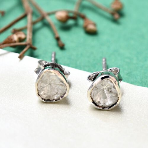 Natural Polki Diamond Stud Earrings (with Push Back) in Platinum Overlay Sterling Silver 0.25 Ct.