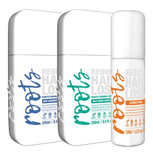 Roots: Anti Dandruff Shampoo - 250ml, Silky Finish Conditioner - 250ml & Intensive Treatment Spray - 125 ml
