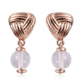 One Time Mega Deal-Rose Quartz Knot Earrings (with Push Back) in Rose Gold Overlay Sterling Silver 5.000 Ct.