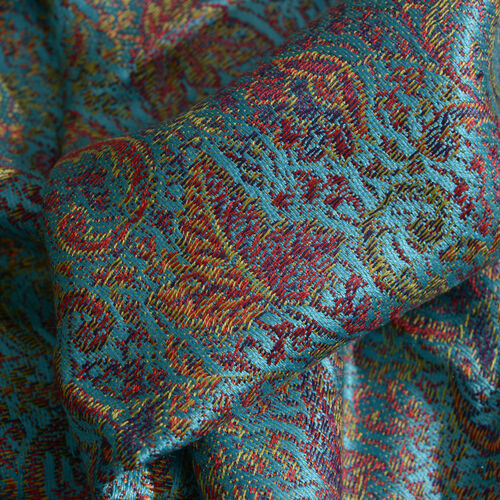 SILK MARK - 100% Superfine Silk Turquoise, Red and Multi Colour Jacquard Scarf with Fringes (Size 180x70 Cm) (Weight 125 - 140 Grams)