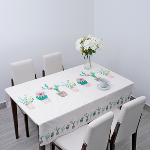 100% Waterproof PVC Table Cloth with Cactus Pattern (Size 200x137cm) - Cream Colour