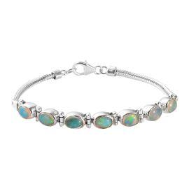 Ethiopian Welo Opal (Ovl) Bracelet (Size 7.5) in Sterling Silver 3.00 Ct, Silver wt 8.87 Gms