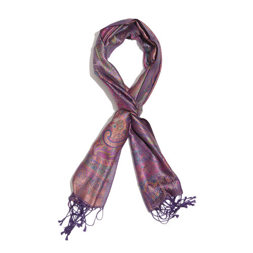 SILK MARK- 100% Superfine Silk Purple, Pink and Multi Colour Jacquard Jamawar Scarf with Fringes (Size 180x35 Cm)