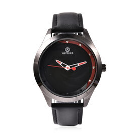 STRADA Japanese Movement Black and Steel Watch in Silver Tone