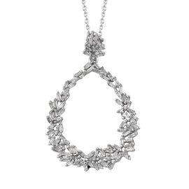 GP Diamond (Bgt), Kanchanaburi Blue Sapphire Pendant with Chain (Size 20) in Platinum Overlay Sterli
