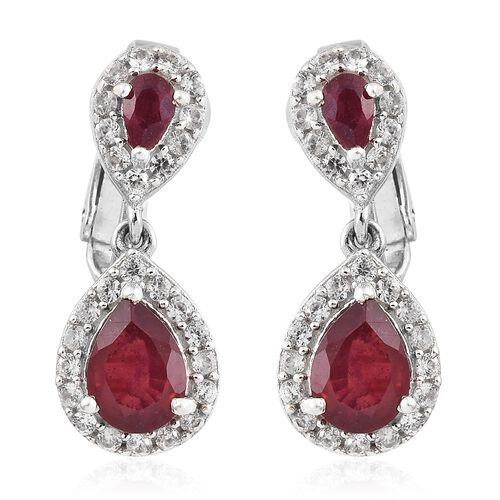 African Ruby (Pear 3.90 Ct), Natural Cambodian Zircon Earrings (with Clip Lock) in Platinum Overlay
