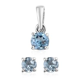 2 Piece Set - Sky Blue Topaz (Rnd) Solitaire Stud Earrings (with Push Back) and Pendant in Platinum