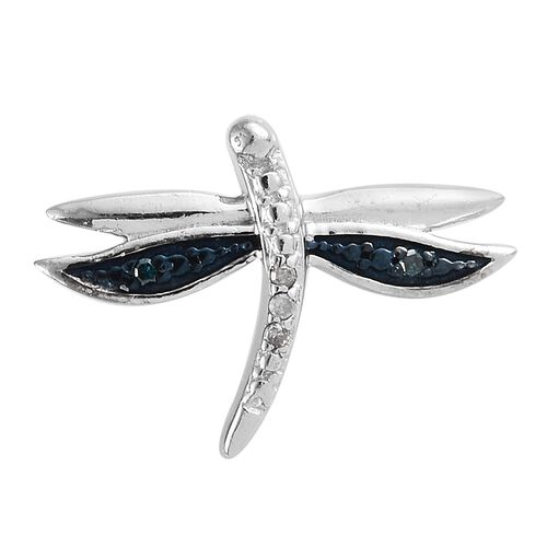 White Diamond (Rnd), Blue Diamond Dragonfly Pendant in Black and Platinum Overlay Sterling Silver