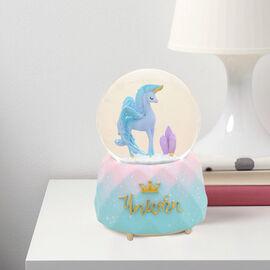 Elegant Unicorn Water Globe with Music and Glitter - Blue