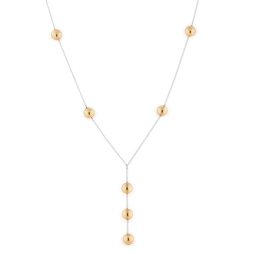 J Francis Crystal from Swarovski Light Gold Pearl Crystal Lariat Necklace (Size 18) in Sterling Silv