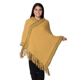 Knit Flower Pattern Bordure Poncho with Tassels (Size 84x102+13 Cm) - Yellow