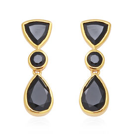 12.12 Ct Natural Boi Ploi Black Spinel Dangle Earrings in Gold Plated Sterling Silver