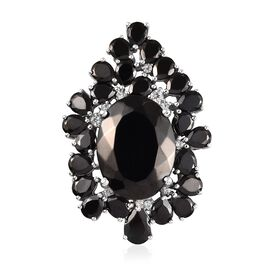 Elite Shungite (Ovl and Pear), Natural Cambodian Zircon Pendant in Platinum Overlay Sterling Silver