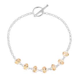 Citrine (Ovl) Bracelet (Size 7.5 Adjustable) in Sterling Silver 3.00 Ct, Silver wt 4.70 Gms.