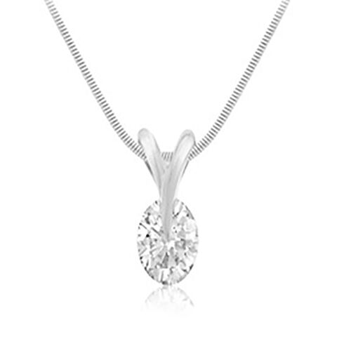 Cubic Zirconia Solitaire Pendant with Chain in Sterling Silver 16 Inch